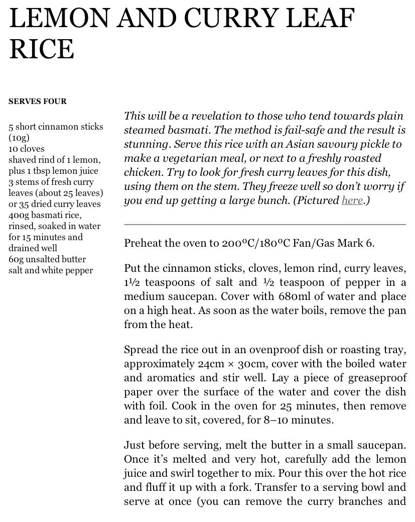 Lemon and Curry leaf rice